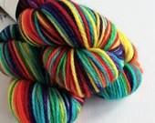 Hand dyed MCN aran yarn - superwash merino/cashmere/nylon aran weight. Rainbow, variegated soft, wool yarn with cashmere.