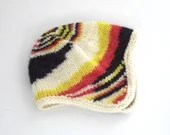 Hand knit baby's earflap hat, red, yellow, black, white/natural, baby boy, baby girl, soft, wool, hand knitted from hand dyed wool yarn.