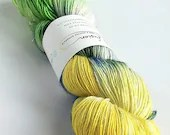 Hand dyed yarn, singles superwash merino/sparkle 4ply wool yarn, yellow, green, blue, sparkly soft sock, 4ply, fingering, knitting, crochet