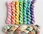 Hand dyed rainbow yarn, double knit yarn set, speckled pastel merino yarn, Superwash merino DK crazy 8 yarn set, Pink rainbow dk yarn set.
