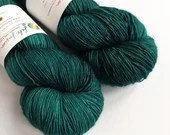 Hand dyed yarn, singles superwash merino 4ply wool yarn.  Teal green yarn, semi-solid green, tonal green, indie dyed fingering weight yarn.