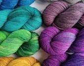 Hand dyed British wool sock yarn, sw Exmoor Blueface/Corriedale/Zwartbles/nylon 4ply/fingering wool yarn.  Semi-solid yarn, tonal sock yarn.