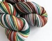 Hand dyed variegated 75/25% superwash merino/nylon sock fingering 4ply weight yarn, A Weasley Christmas, brown, greens, lavender, white yarn