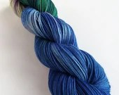 Hand dyed variegated 75/25% superwash BFL/nylon sock/fingering/4ply weight yarn in Blue Bonnets - blue, green, lilac indie dyed yarn.