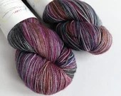 Hand dyed sparkle sock yarn, superwash merino/nylon/stellina sparkle sock/fingering yarn. Grey red blue purple sock yarn, Enchanted Wood.