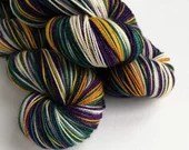 Hand dyed Yule yarn pre-order.  Yule colourway, variegated wool yarn, dyed to order you choose base, purple, green and gold yarn.