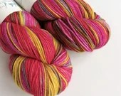 Hand dyed superwash merino dk yarn. Variegated double knit wool yarn, Emma - red, pink, grey, yellow, brown indie dyed DK merino yarn.