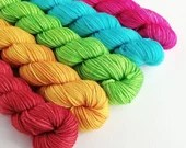 Hand dyed rainbow mini skeins. 5 x 20g semi-solid mini skein yarn sets. sparkle sock, sock/4ply/fingering, double knit dk mini skein set.