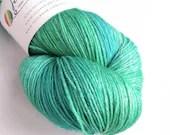 Hand dyed yarn, 150g superwash BFL/silk 4ply/fingering weight yarn, blue-green tonal semi-solid yarn, silk blend wool yarn, 600m large skein
