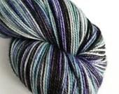 Hand dyed high twist superwash merino/nylon sock/fingering/4ply yarn. Quirrell variegated grey, black, purple. Sock knitting, crochet socks.