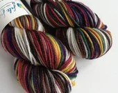 Hand dyed DK yarn, superwash merino/nylon/stellina double knit yarn, sparkle dk yarn, dark rainbow yarn, red green yellow purple brown yarn