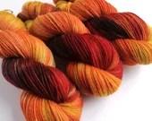 Hand dyed British wool sock yarn, sw Exmoor Blueface/Corriedale/Zwartbles/nylon 4ply/fingering wool yarn. Autumn orange gold, What Katie Did