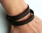 Tape measure bracelet, wrist ruler, leather bracelet, leather tape measure, fun tape measure, novelty, silicone bracelet. Leather key fob.
