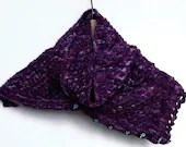 Purple hand knit wool sca...