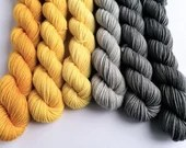 Hand dyed sock yarn mini skeins. 6 x 20g gold grey gradient yarn sets. Semi-solid minis,  sock/4ply/fingering, gold yellow grey sock yarn