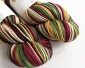 Hand dyed sparkle DK yarn, superwash merino/nylon/stellina double knit yarn, Vintage Christmas sparkle yarn, dark red, gold, green, cream.