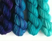 Hand dyed gradient wool yarn. Custom, dyed to order shift ombre gradient. You choose colours, yarn base, amount. Indie dyed yarn.