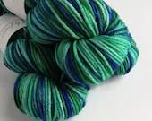 Hand dyed superwash merino worsted weight wool yarn. Variegated green and blue yarn, hand dyed rios merino yarn