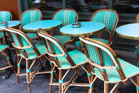 parisian cafe chairs mesh pool lounge paris photography mint green in montmartre etsy image 0