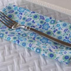 Kitchen Napkins Titanium Knives Fabric Dinner Blue Flowers Etsy Image 0