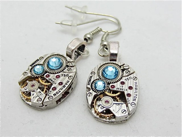 Steampunk earrings watch parts jewelry Aquamarine earrings Hamilton Steampunk Watch movement Handmade Bridesmaid Gift Birthday for her er
