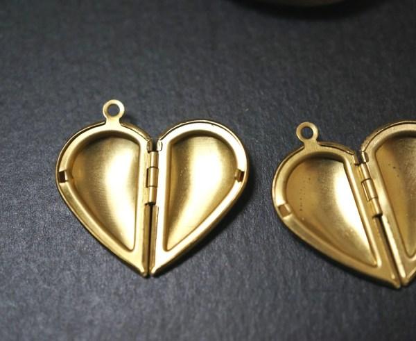 Perfect Size Raw Brass Heart Shape Love Lockets