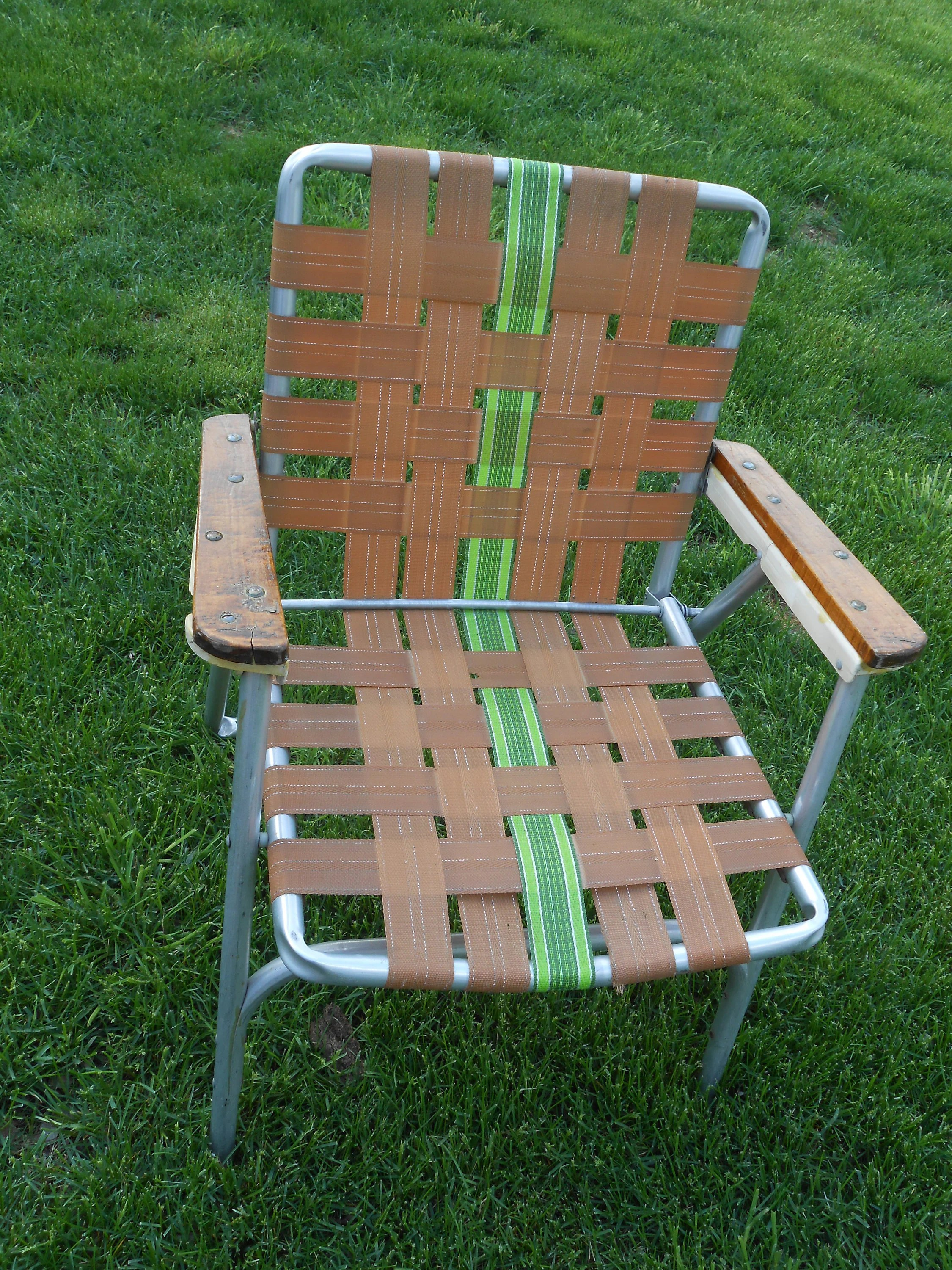 webbed folding lawn chairs spiderman table and retro vintage outdoor chair aluminum 50s etsy image 0