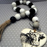 Farmhouse Wood Bead Garland Cow Twine Tassel Black White Gray Jar Jewelry