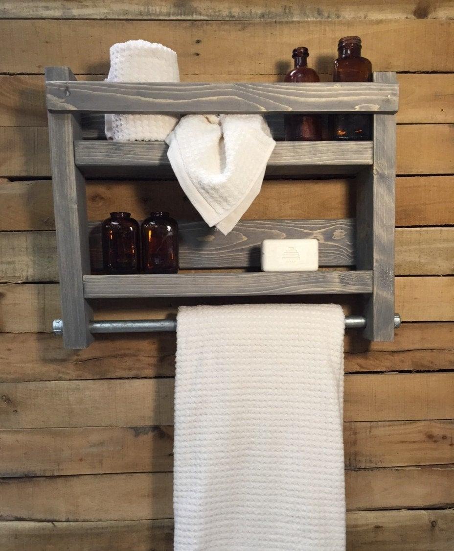 bathroom shelves and organizer rustic