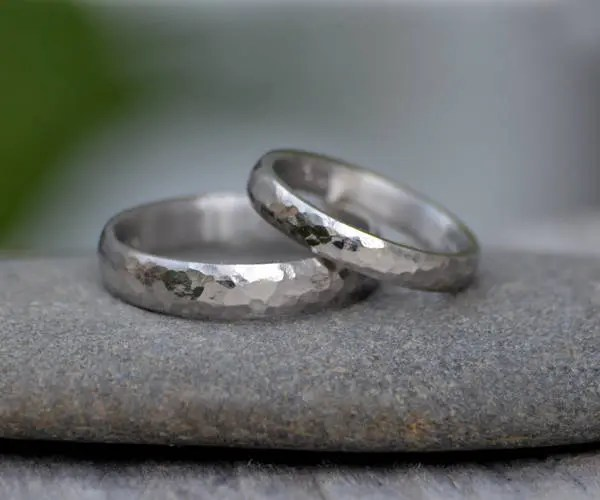 platinum wedding band with hammer effect platinum wedding ring 3mm wide or 4mm wide rustic wedding band made to order