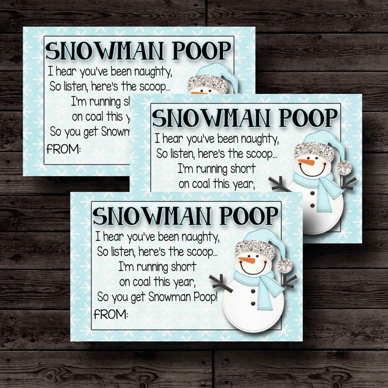 Snowman Poop Printable Christmas Tags Christmas T For