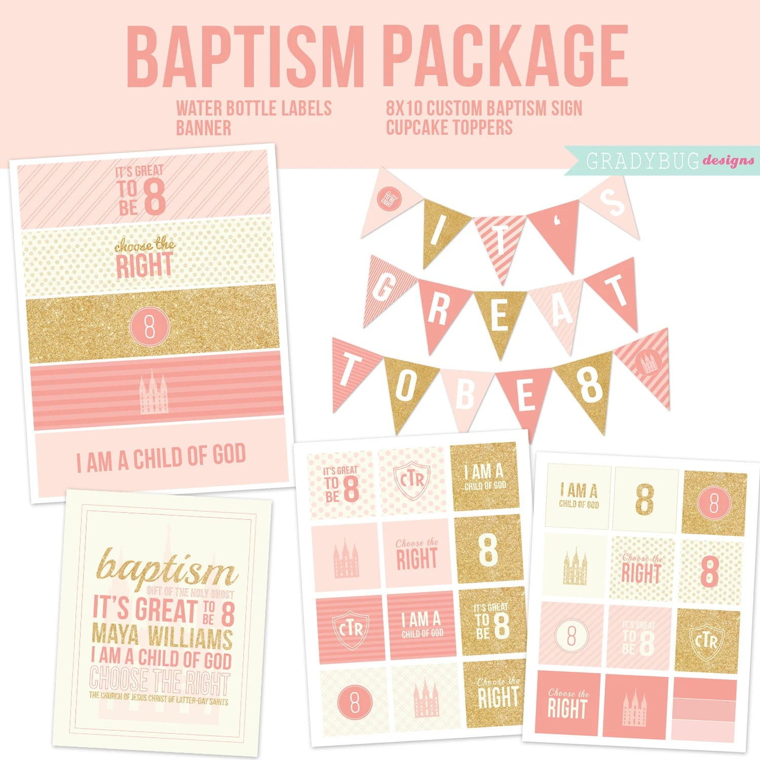 Baptism Printables Cupcake Toppers Water Bottle Labels