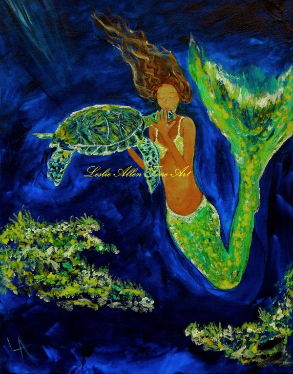 Mermaid Mermaids Giclee Art Print Wall Sea Turtle Kissing