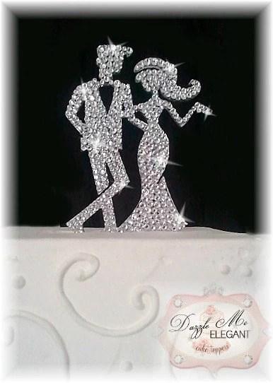 Bride And Groom Cake Topper Crystal Cake Topper Custom Etsy