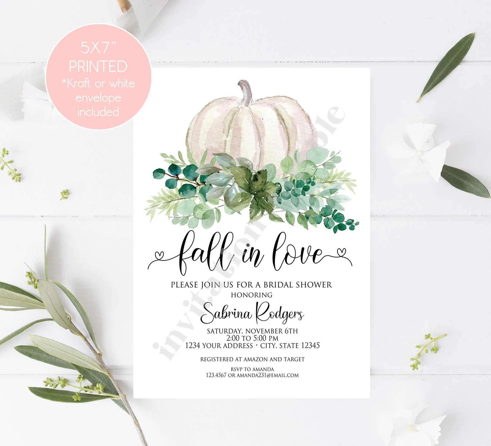 If you're planning to host a one, check out these 10 fun ideas for a bridal shower party. Custom Printed 5x7 Fall In Love Bridal Shower Invitations Greenery Pumpkin Bridal Shower Invitation With Envelope By Paper Monkey Company Catch My Party