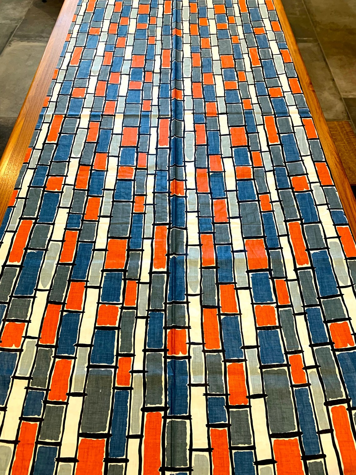 50s Eames Era Fabric with a Stacked Brick Design/ Mid ...