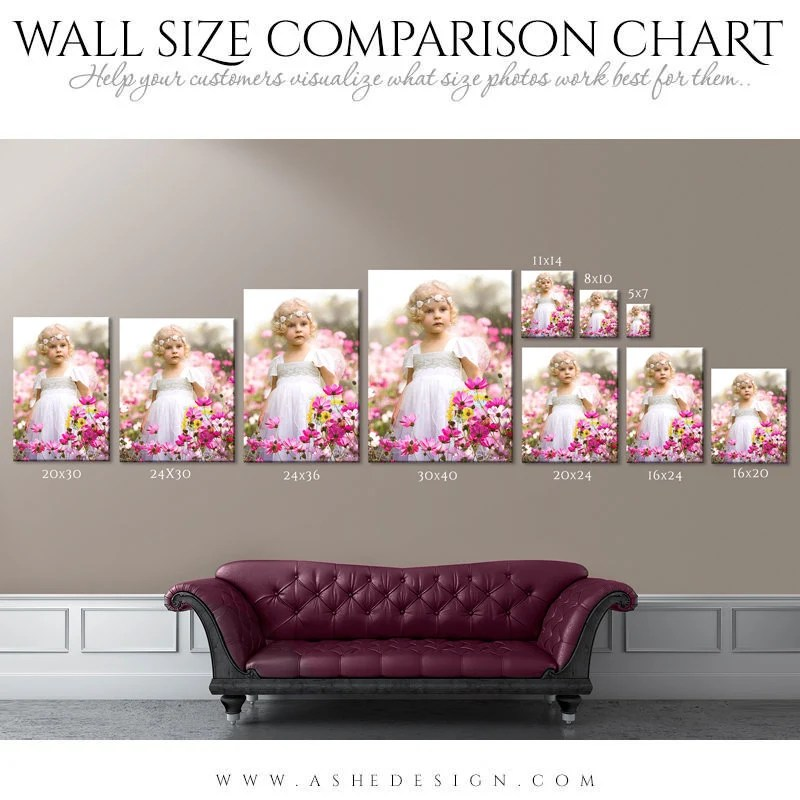 Wall display guide size comparison chart portrait photoshop layered  template leather sofa backdrop  image also art etsy rh