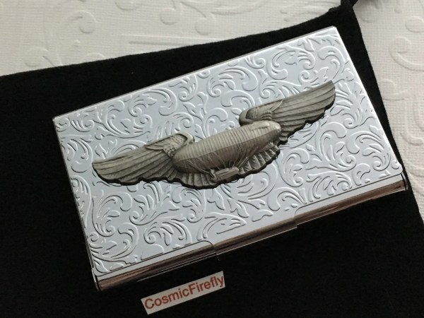 Business Card Case Steampunk Airship Dirigible Blimp Wings