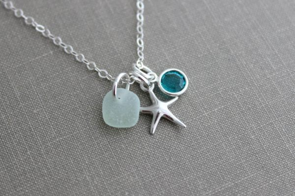 Sterling Silver Starfish Charm Necklace With Genuine Sea