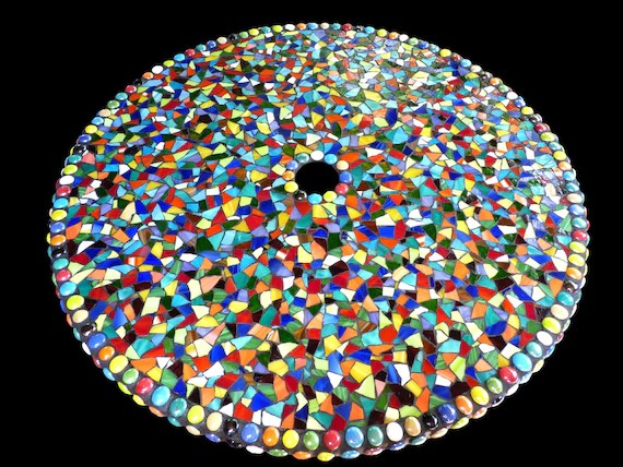 large mosaic stained glass outdoor patio table lazy susan etsy