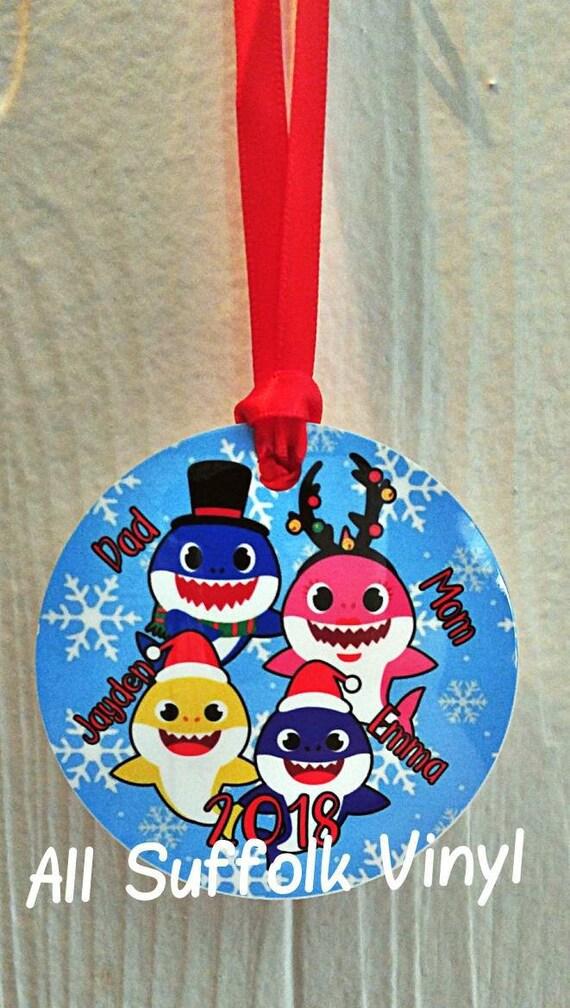 Baby Shark Christmas : shark, christmas, Shark, Family, Christmas, Ornament, Holiday