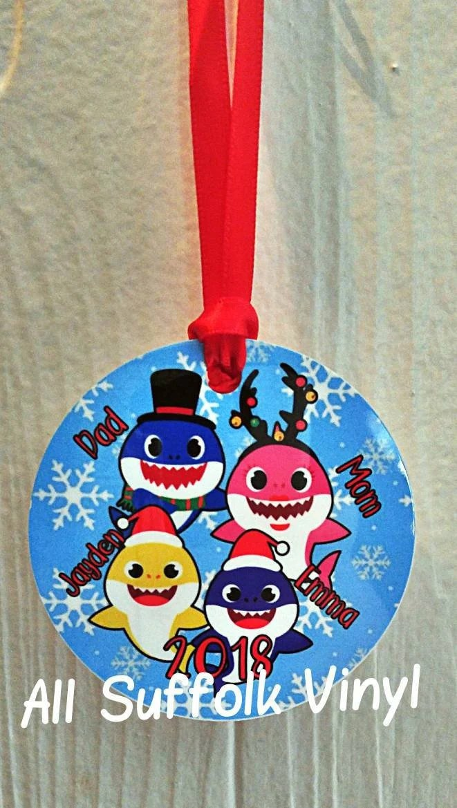 Baby Shark Holiday : shark, holiday, Shark, Family, Christmas, Ornament, Holiday
