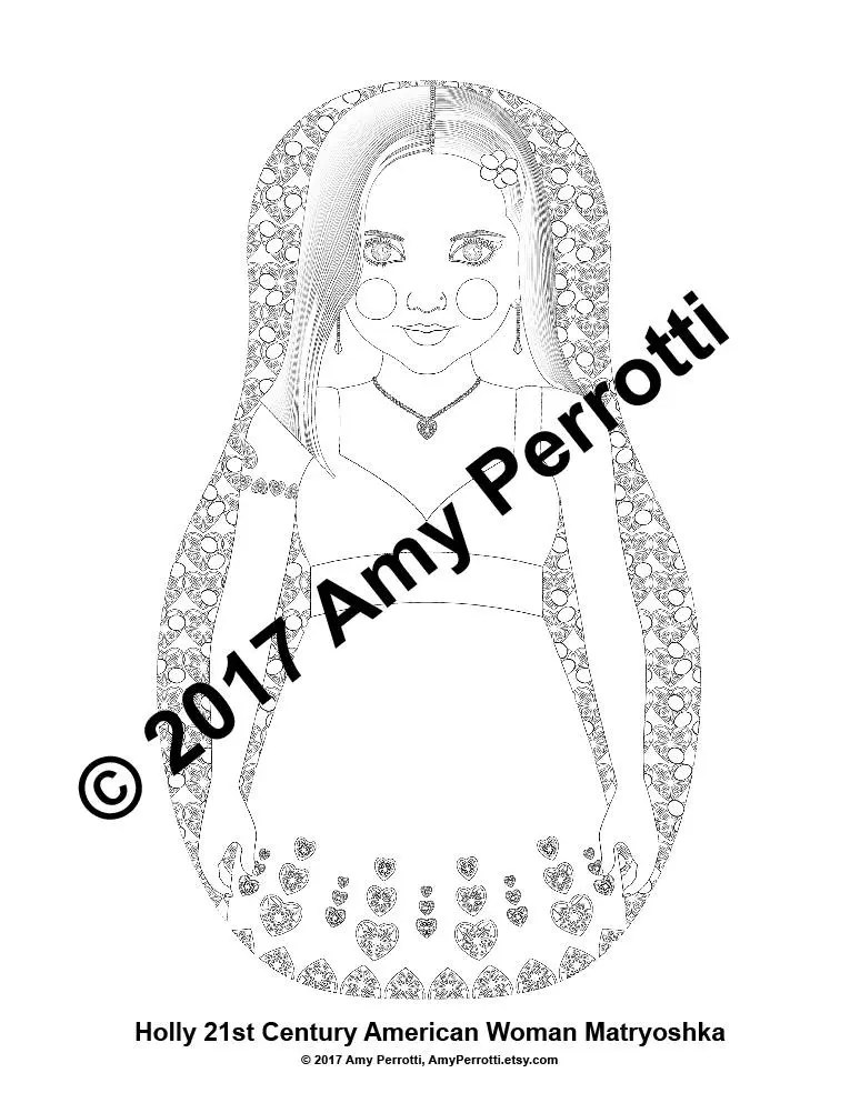 Holly 21st Century American, Doll Coloring Sheet Printable