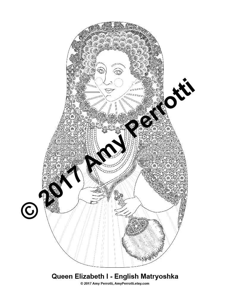 Queen Elizabeth I English Matryoshka Coloring Sheet file