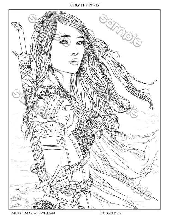 Elf woman warrior fantasy coloring page by Maria J