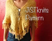 Knit Shawl Pattern, Fringe Shawl pattern, Knit Poncho pattern, fringe poncho pattern, pdf, summer poncho, winter poncho, triangle shawl