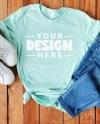 Bella Canvas 3001 Heather Prism Mint T Shirt Flatlay Styled Etsy