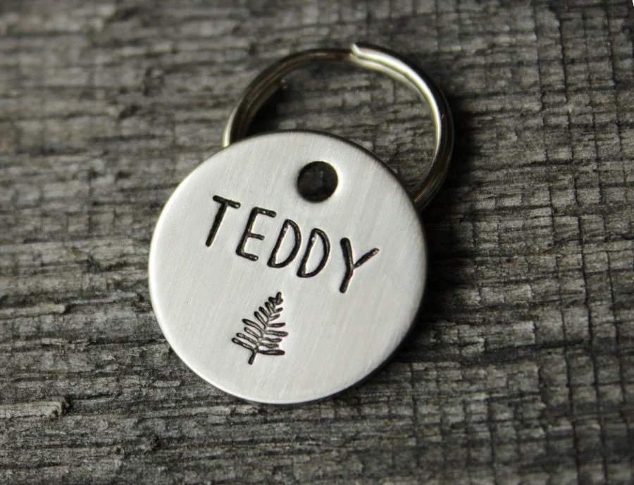 Dog tag personalized for your pet  Name tag with trees and Single fir tree
