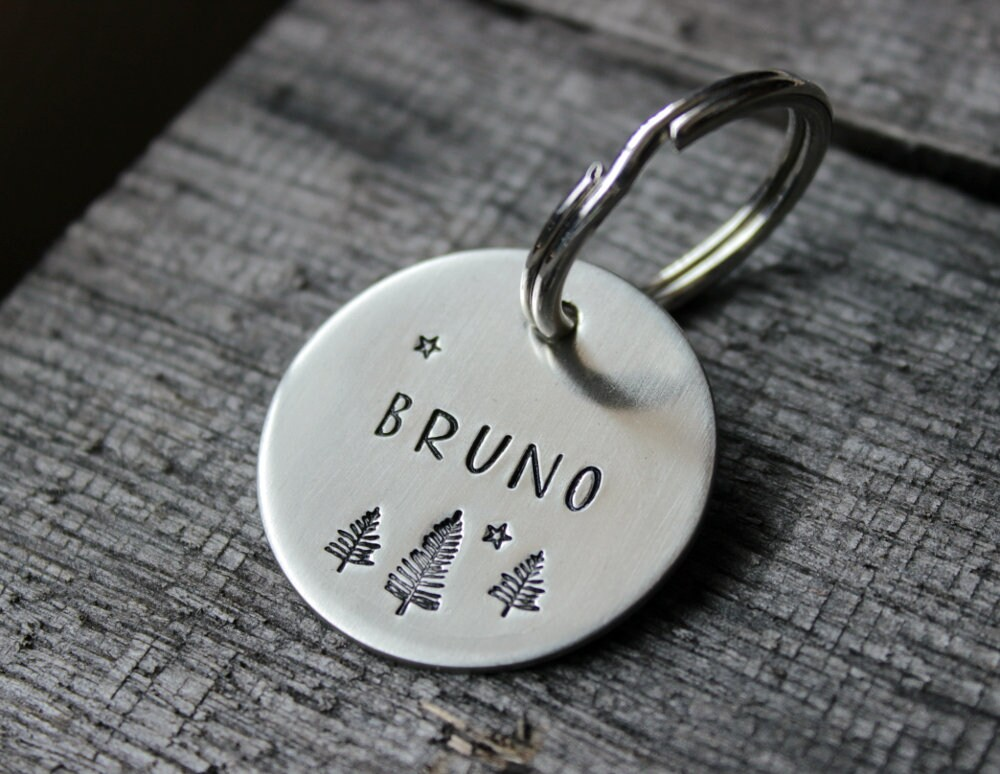 Dog tag personalized for your pet  Name tag with trees and image 1