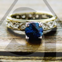 Deep Blue Sapphire Engagement Ring in Two Tone 14K White ...